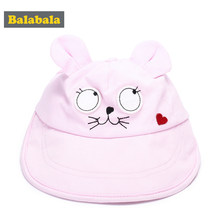 Balabala Baby Girls Cute Mouse Ears Sun Cap 2018 Fashion Summer Beach Baseball Hat Cotton Breathable Cap Newborn Accessories(China)