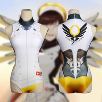 2017 Game Mercy Costumes For Summer Mercy Swimsuit Cosplay Ladies Bodysuit Zentai Tight Swimsuit Elastic Digital