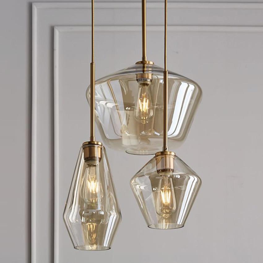 Modern glass dining lighting pendant lamp clear Cognac glass nordic hang lamp bar cafe restaurant sitting