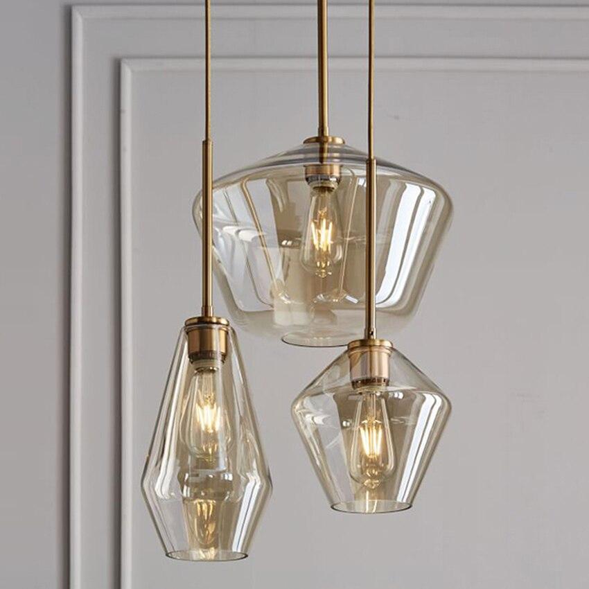現代ガラスダイニング照明ペンダントランプクリア/コニャックガラス北欧 sv002237 バーカフェレストランリビングルーム照明器具  グループ上の ライト & 照明 からの ペンダントライト の中 1
