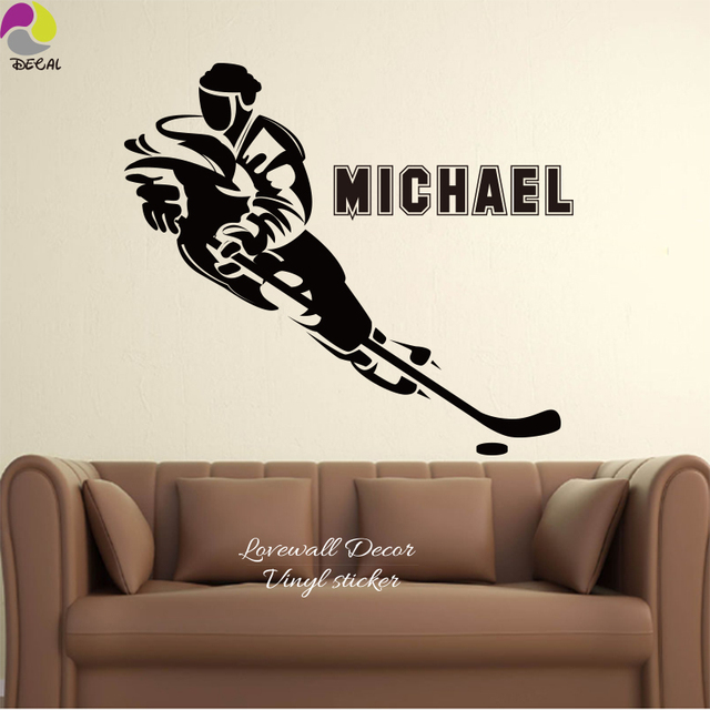 Custom name ice hockey wall sticker baby nursery big personalized boy name sport floorball player wall