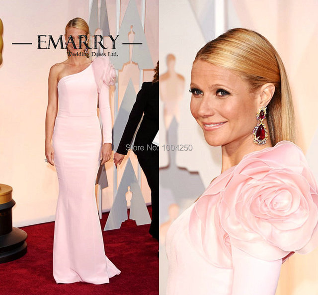 Gwyneth Paltrow Oscars Dresses 2016 Elegant One Shoulder Long Sleeve  Mermaid Pink Evening Party Red Carpet Gown with Big Flower 08f4c3ad9e20
