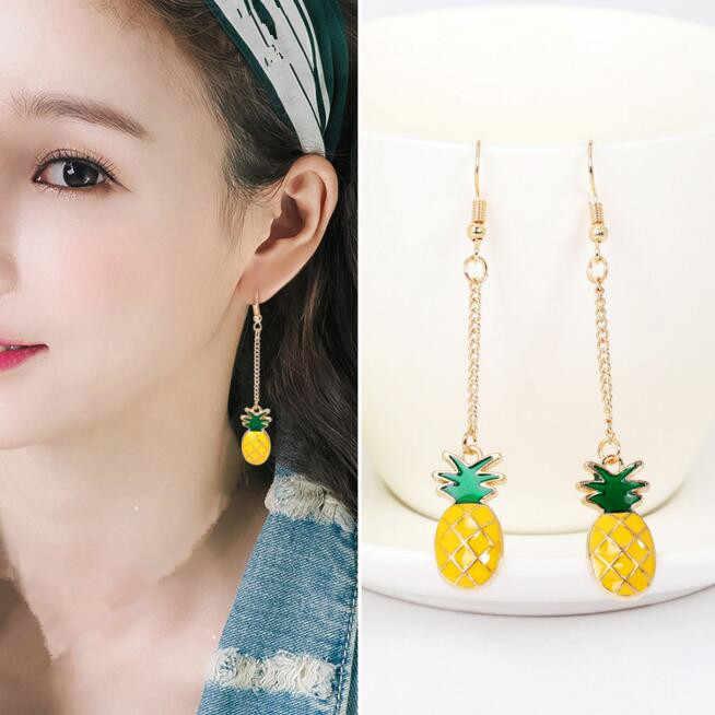 Verão é fresco e linda bela fruta morango abacaxi kiwi laranja cereja abacaxi fruta brincos feminino delicado presente