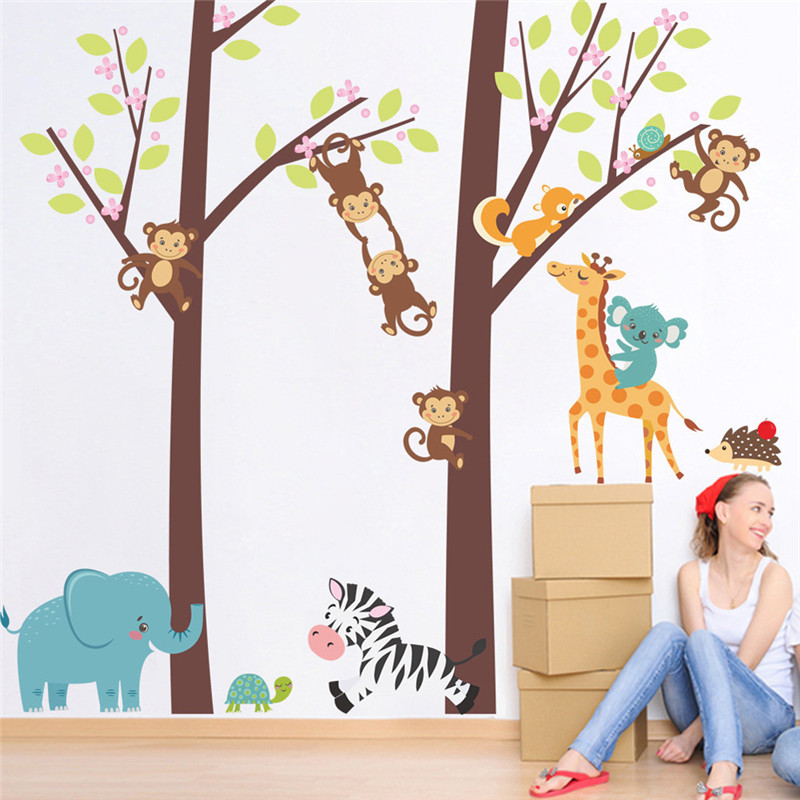 forest animals tree wall stickers for kids room monkey bear jungle wild children wall decal nursery. Interior Design Ideas. Home Design Ideas