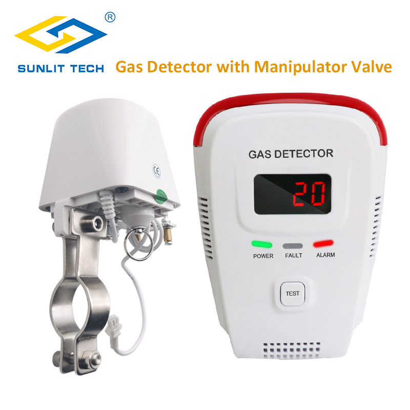 Household Natural Gas Detector LPG Gas Alarm Monitor Combustible Gas Leak Alarm System With Auto Shut Off Manipulator Valve DN15