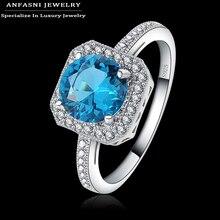 Anfasni инкрустированные квадратные циркония обручальные bijoux чистого камень серебра кольца синий