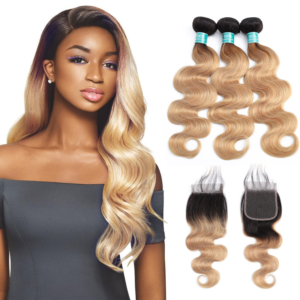 Body Wave Bundles With Closure Pre Colored Ombre Brazilian Hair 3 Bundles With Lace Closure 1B