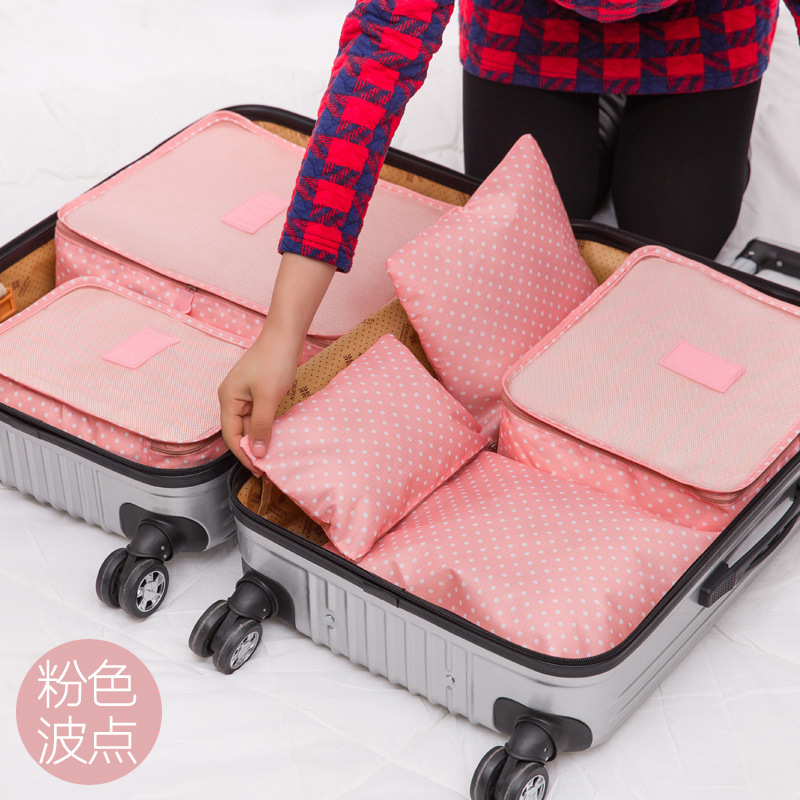 Travel Bag 6sets six pieces of travel suitcase clothing underwear finishing bag new printing color 6