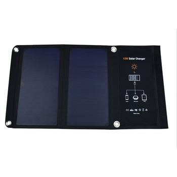 15 Вт складное солнечное зарядное устройство Портативный Панели солнечные Батарея Batteria двойной Порты usb для iPhone 6 6 S Plus iPad mini Galaxy S6 S8