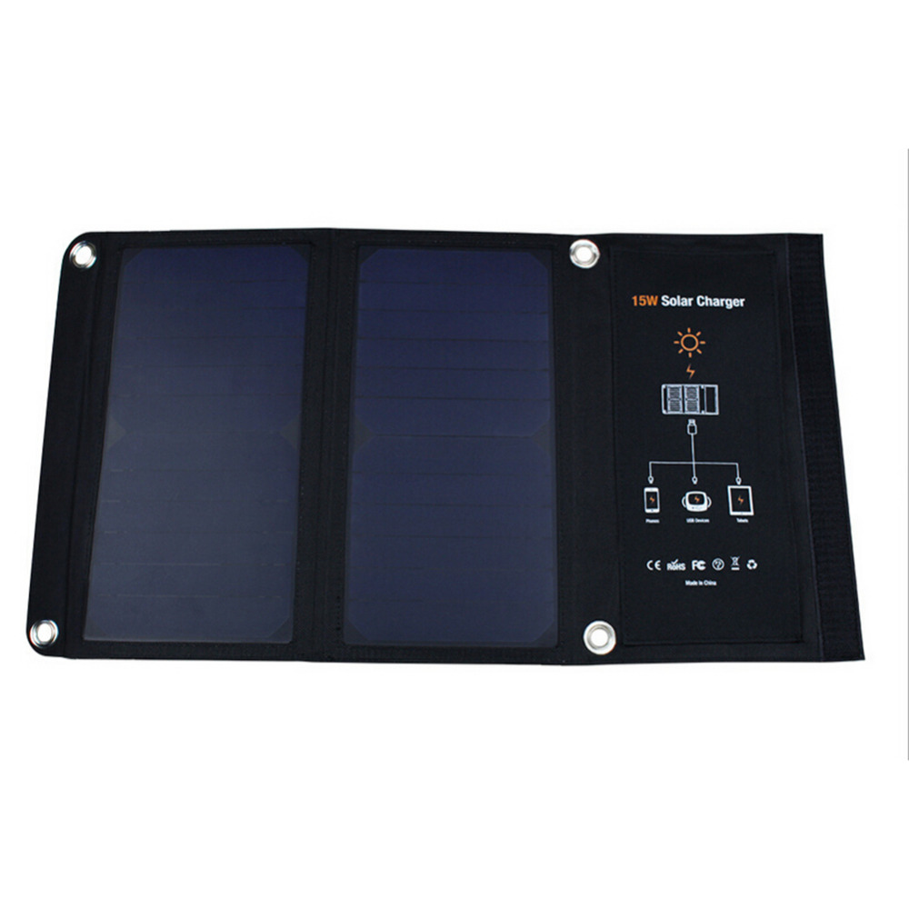 15W Foldable Solar Charger Portable Solar Panel Battery Batteria Dual USB Ports for iPhone 6 6S Plus for iPad mini Galaxy S6 S8