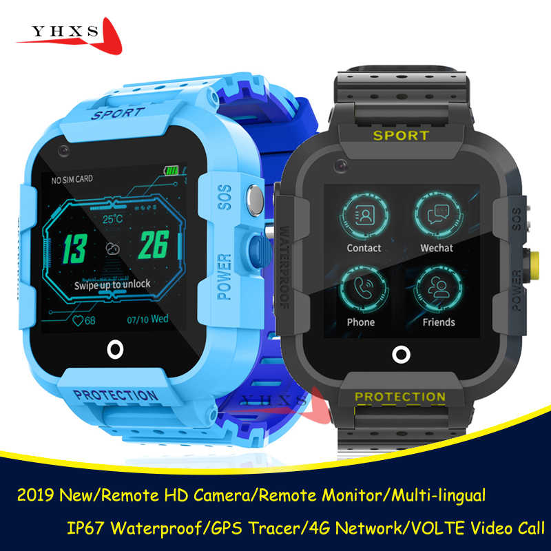 2019 IP67 Waterproof Smart 4G Remote Camera GPS WI-FI Kid Student Wristwatch SOS Video Call Monitor Tracker Location Phone Watch