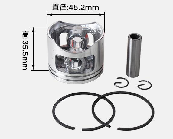 58cc Chainsaw Cylinder Piston Set Dia.45.2mm For Chinese 5800 Chain Saw Piston Kit