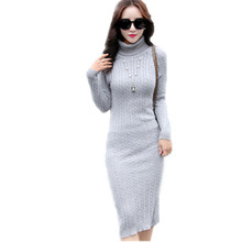 366953834a2 Winter Knee-Length Sweaters O-Neck Slim Tight Knitted Dress Autumn Women  Sexy Casual