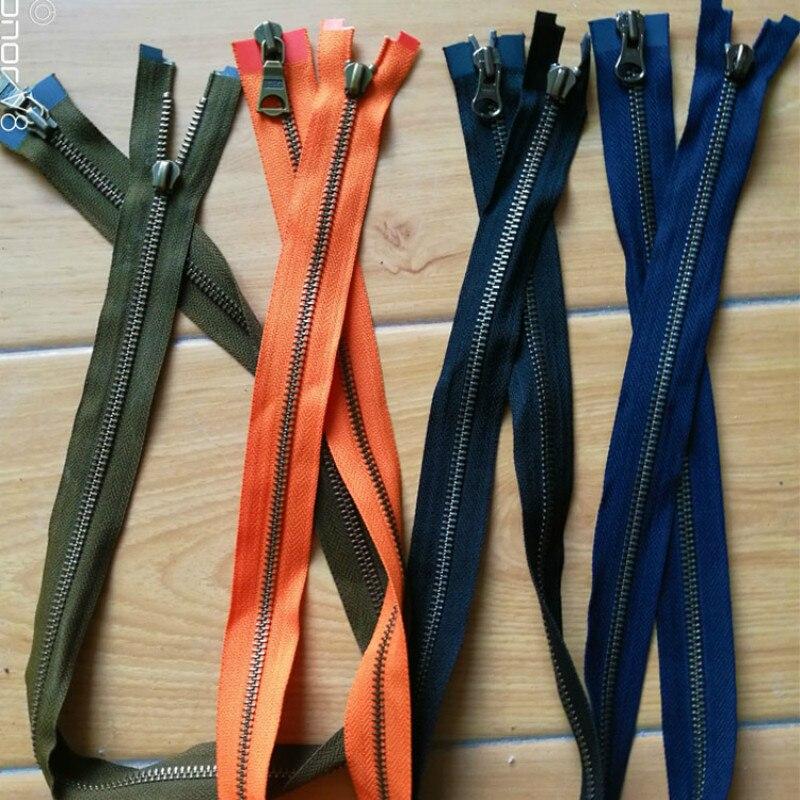 10 Pcs/lot Vintage Ykk Metal Zipper Black Blue Copper Bronze Double Open Slider for Leather Jacket Coat Sewing Accessories