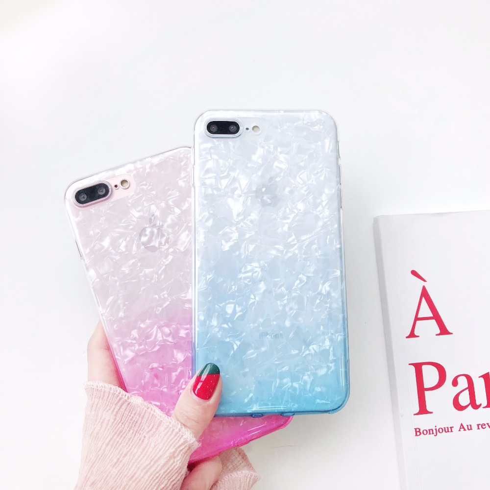 KMUYSL Gradient Color Case For iPhone 7 8 6 6s Plus 5 5S SE Luxury Bling Glitter Dream Shell Pattern Protect Cover For iPhone X