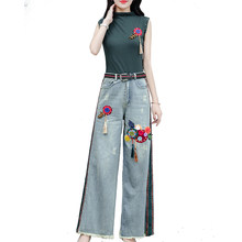 korean NewTracksuit For Women Womens Loose Large Size Crop Tops+Denim Pants Suit Female Plus Size Fashion Three Piece Sets S-3XL(China)