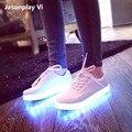 Привело Обувь 2016 Большой размер 35-46 Мода Свет Мужчины высокого качества повседневная Обувь теннис Обувь Открытый путешествия танца Led USB Обувь xss5