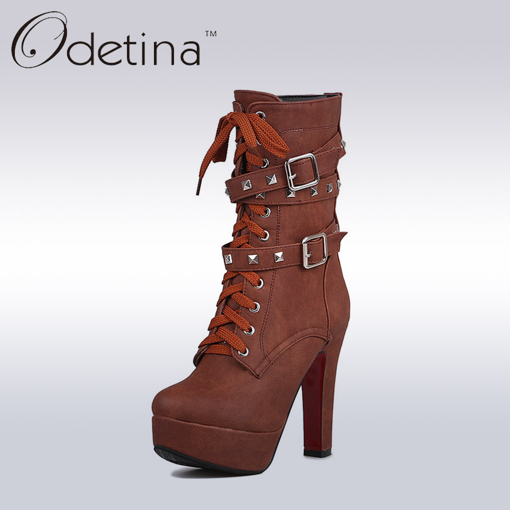 ФОТО Odetina Sexy Extreme High Heels Black Women Motorcycle Boots Lace Up Women Rivets Punk Boots Buckle Straps Ladies Mid Calf Boots