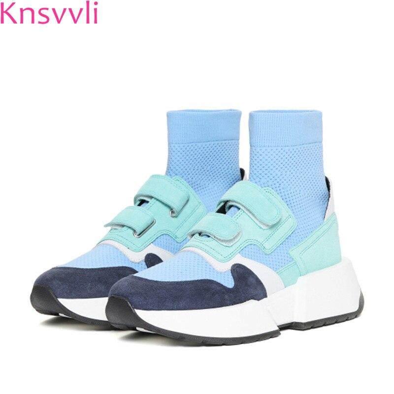 Mixte Casual Plate Femme En 2019 Chaussette Printemps Blue Taille Véritable Couleur Stretch Cuir Chaussures Fond Femmes purple Sky 34 40 Sneakers forme v6Iwzqf