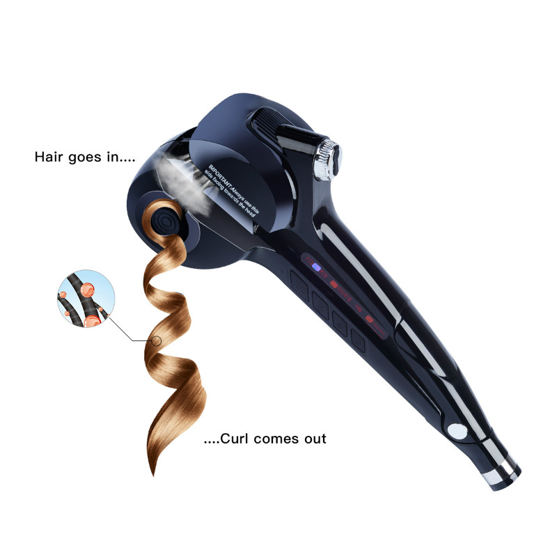 LED Digital Automatic Curling Iron Ceramic Steam Spray Hair Waver Machine Fast Hair Curler Curls Temperature Control EU US Plug automatic hair steam curler ceramic curling iron wand salon professional auto rotating styling steamer spray curl spiral machine
