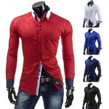 Мужчины в свободного покроя рубашки, Весна платье длинный рукав мужчины приталенный Fit одежда мужские рубашки 3 цвета 13CS05