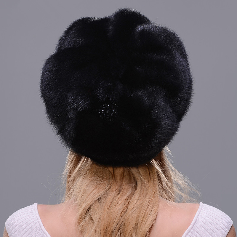 DENPAL Marke Neue Pelz Hut Stil Mantel Pelz Hut Reale Natürliche Schwarz Nerz Hut Für Frau Winter Warme Hut kappe Schutz Ohr - 3