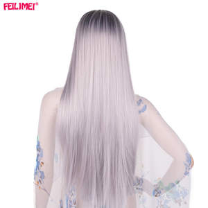 Feilimei Cosplay Wigs Hair-Extensions Gray Heat-Resistant Black Long Ombre Synthetic