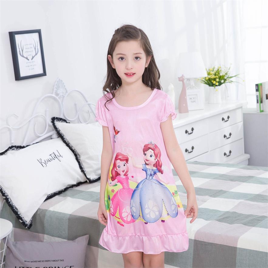 2018 New Hot Girls Nightgown Dress Nightdress Pajama Cartoon (2-12y) children short sleeved Nightdress Of Kids
