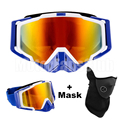Motorcycle Goggles Glasses Motocross ATV Off Road Goggles Eyewear Protective Sports Glasses for Helmet With Mask Blue