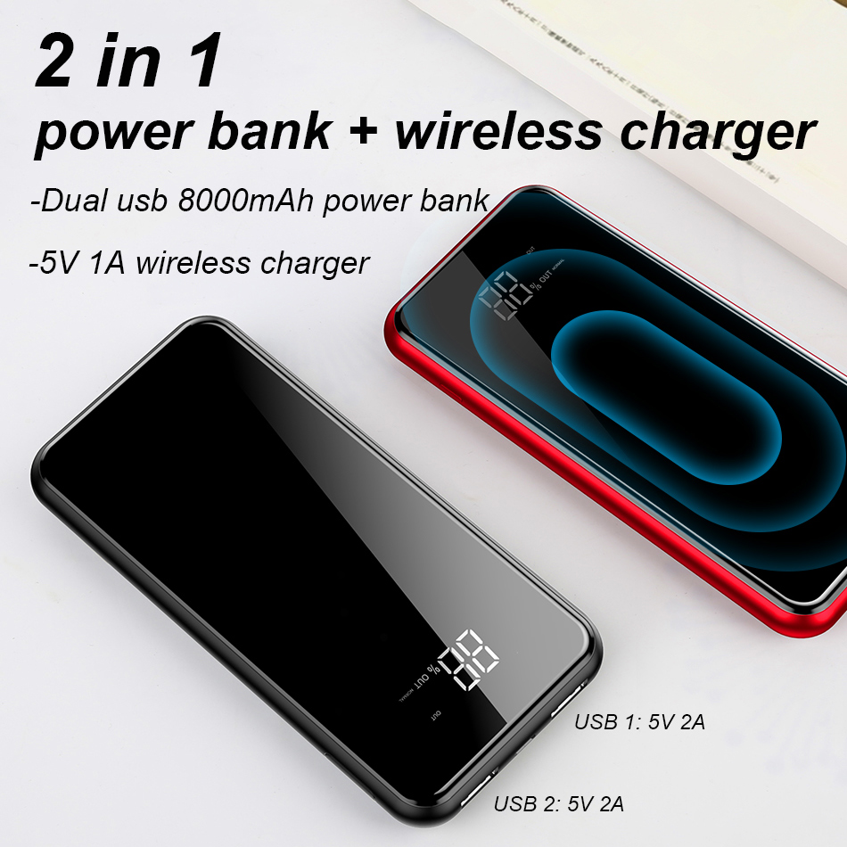 Baseus 8000mAh QI Wireless Charger Dual USB Power Bank