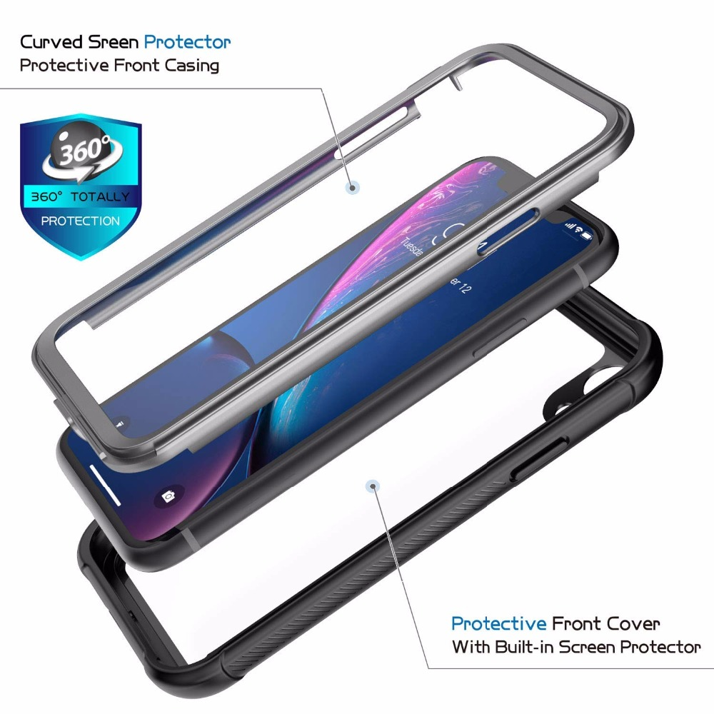 For iPhone XR Case 360 Degree Premium Hybrid Protective Clear Case for Apple iPhone XR 6 1 inch With Touch ID Cover in Fitted Cases from Cellphones Telecommunications