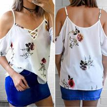 Womem Summer Sexy Off Shoulder Half Sleeve Spaghetti Strap Cross Bandage Backless Printed Shirt Loose Chiffon Floral Blouse