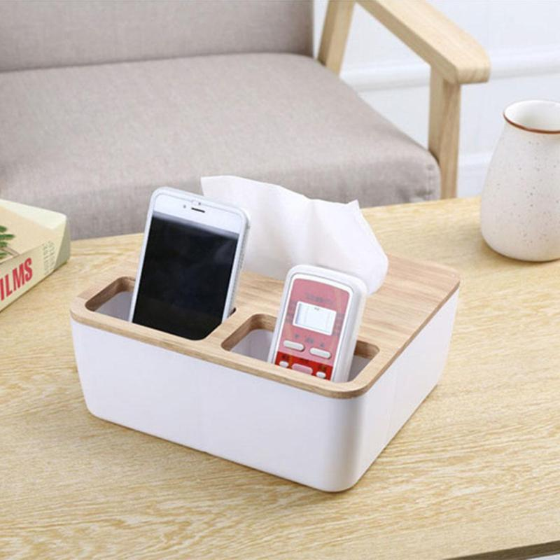 Wooden Plastic Tissue Box Dispenser Home Car Paper Wood Napkin Holder Case Desk Remote Control Phone Holder Sundries Organizer