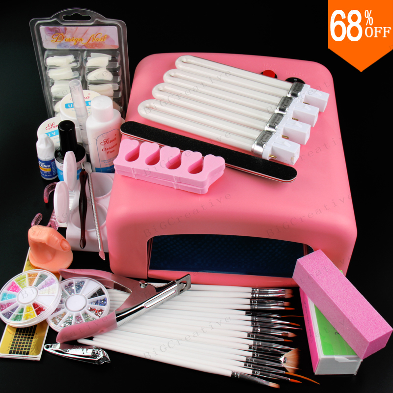Nail Art Pro DIY Full Set Soak Off Uv Gel Polish Manicure set 36W Curing Lamp Kit Set nail gel nail tools nail art manicure tools set uv lamp 10 bottle soak off gel nail base gel top coat polish nail art manicure sets
