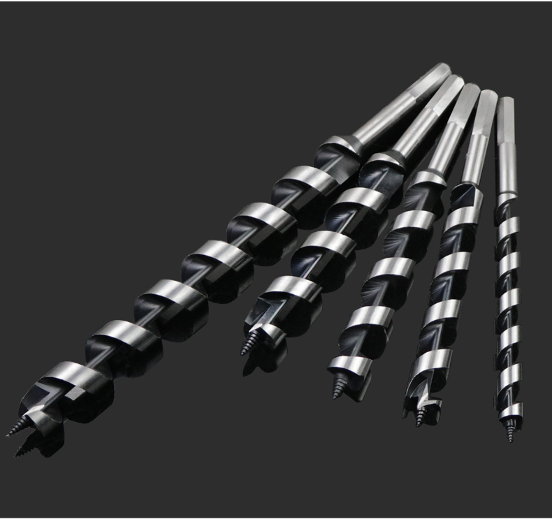 28mm 30mm en acier au carbone 350mm longueur supplémentaire hexagone tige bois bois outil électrique fil spirale flûte torsion tarière foret