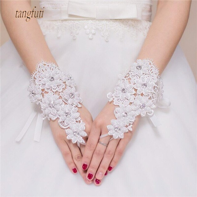 Pearls Crystals Lace Short Bridal Gloves Fingerless Wedding Wrist Length Up Ivory Accessories