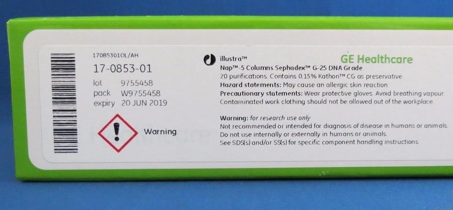 Pour GE USA Nap-5 colonne pré-emballée Sephadex G-25 article n° 17-0853-01