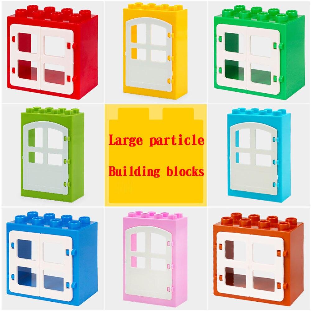 Legoing Duploed Large Particles Big Building Blocks Accessories Door  Window Umbrella Swing Slide Toys For Childrens Kids Gifts