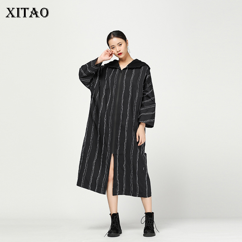 [XITAO] New Women 2018 Autumn Korea Fashion Wide-waisted Hooded Collar Full Sleeve Striped Casual X-long Split   Trench   LJT4238