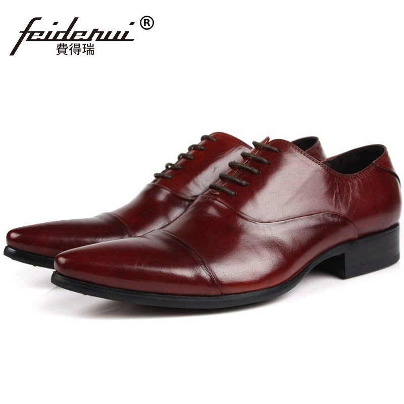Luxury Brand Man Dress Wedding Office Shoes Genuine Leather Cap Top Oxfords Pointed Men's Handmade Male Flats For Bridal FG84 relikey brand men casual handmade shoes cow suede male oxfords spring high quality genuine leather flats classics dress shoes