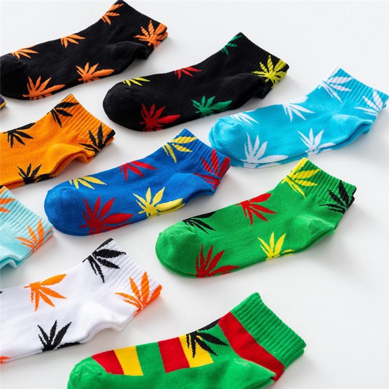 New Spring Summer Cotton Harajuku Skateboard Hip Hop Maple Leaf   Socks   Street Boat   Socks   For Male/female Funny Short   Socks   1 Pair