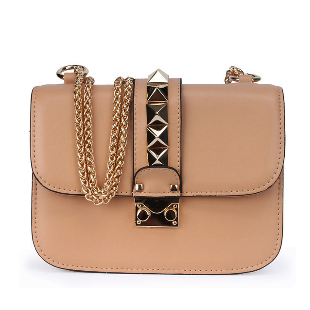 2017 New Arrival  Fashion Design Women Rivet Chain Crossbody Bag Geniune Leather Brand Shoulder Bag Lady Small Messenger Bag