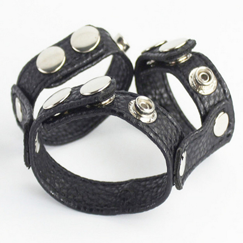PU Leather Male Cock Cage Penis Rings Bondage Belt Slave In Adult Games,Fetish Erotic Sex Products Toys For Men - QH134