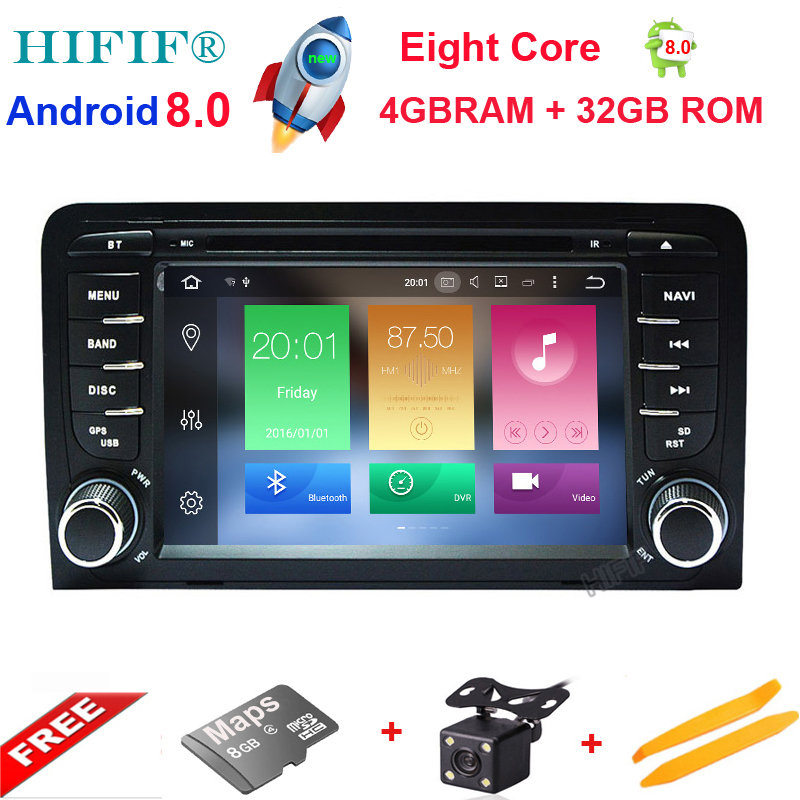 IPS 7 pouces voiture stéréo Radio GPS Navigation pour Audi A3 8 P 8 PA Quad Core 1024*600 Android 8.0 GPS capacitif écran tactile Radio