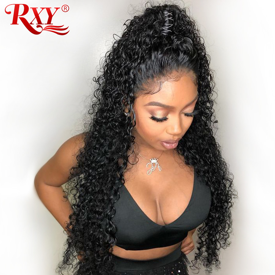 RXY Brazilian Deep Wave Wig Pre Plucked Full Lace Human Hair Wigs With Baby Hair Glueless