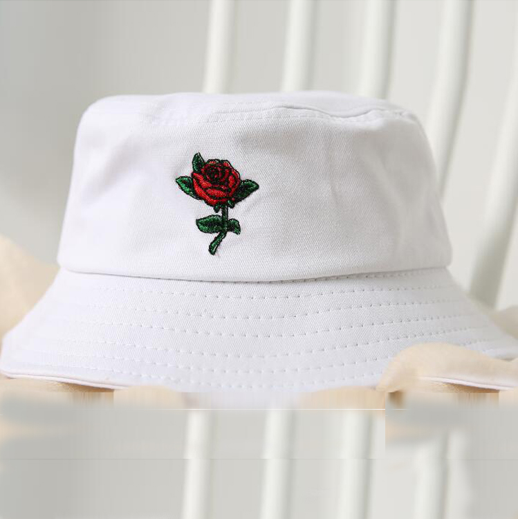 85f2562da59 2018 Rose Bucket Hat Unisex Fashion flower Bob Cap Hip Hop Gorros Men  Summer Caps outdoor Beach Sun Fishing panama for men women-in Bucket Hats  from Apparel ...