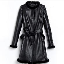 2016 Haining real leather female coat 20146 new arrival autumn and winter long black mink collar warm sheep lethear jacket w1199
