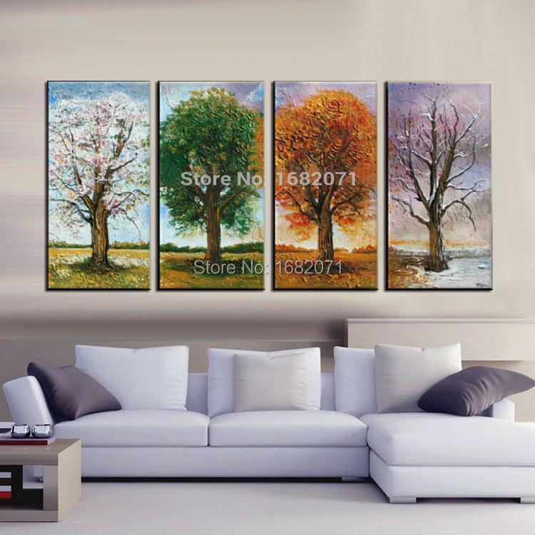 최고 기술 화가 수제 추상 사계절 나무 캔버스 시즌 트리 캔버스 그림 벽 장식