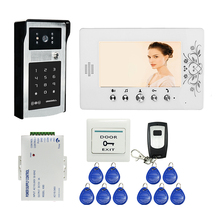 FREE SHIPPING 7″ Color Screen Video Door Phone Intercom Kit + White Monitor + RFID Access Keypad Password Door Camera In Stock