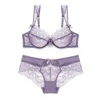 New Embroidery Bras Underwear Women Set Plus Size Lingerie Sexy A B C D Cup Ultrathin